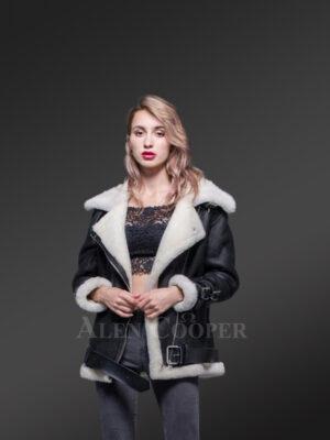 Women's stylish lapel collar double face shearling warm winter coat new