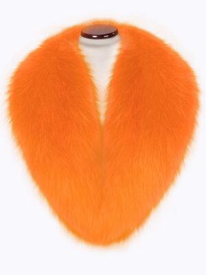 Bright orange detachable real fox fur collar with incredible warmth