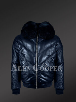 Men's super stylish and classic real leather v bomber jacket with navy crystal fur collar new