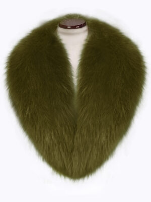 Olive and silky real fox fur collar with amazing warmth