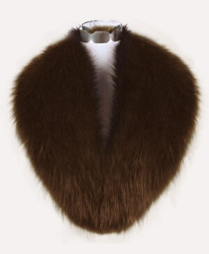Soft and silky real fox fur collar in rich coffee