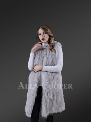 Women's mid-length real warm and true stylish raccoon fur winter outerwear Grey
