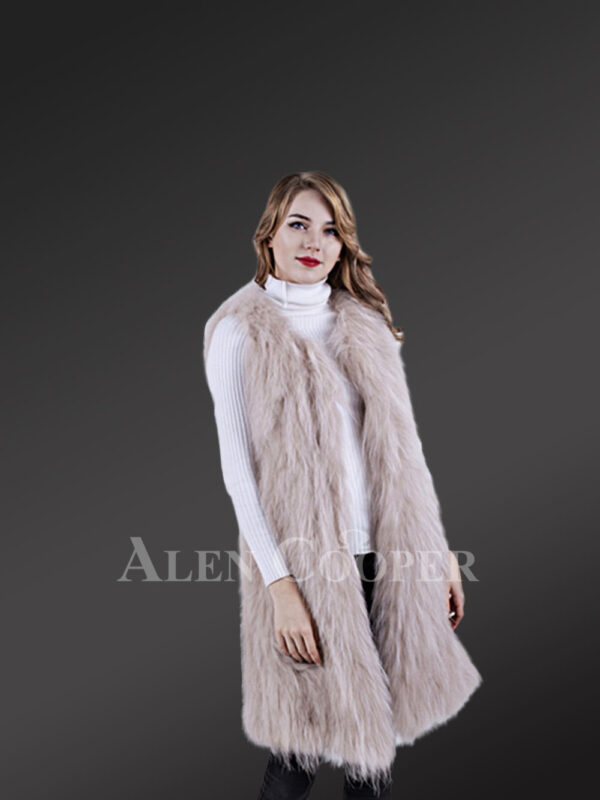 Women's mid-length super warm and stylish raccoon fur winter outerwear side view new