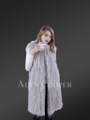 Women mid-length real warm and true stylish raccoon fur winter outerwear Grey