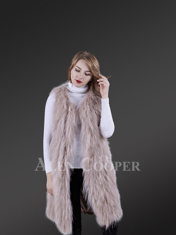 Women mid-length real warm and true stylish raccoon fur winter outerwear White