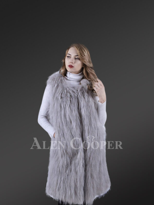 Womens mid-length real warm and true stylish raccoon fur winter outerwear Grey