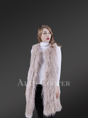 Womens mid-length real warm and true stylish raccoon fur winter outerwear White