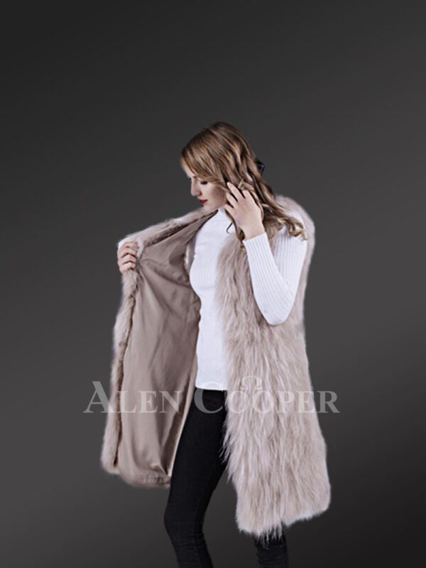 Womens mid-length super warm and stylish raccoon fur winter outerwear side view