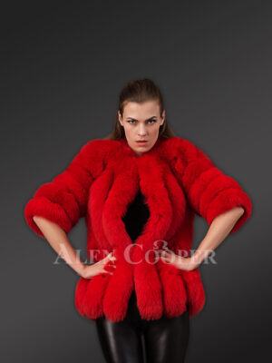 Beautiful vibrant red real fox fur super warm and stylish winter outerwear for women new