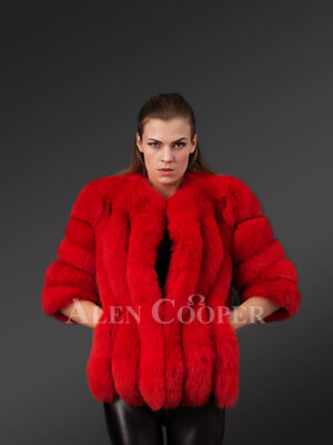 Beautiful vibrant red real fox fur super warm and stylish winter outerwear for women's new