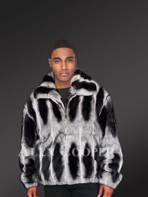 Men's black-white stripe real rabbit fur bomber jacket with wide stand up collar new