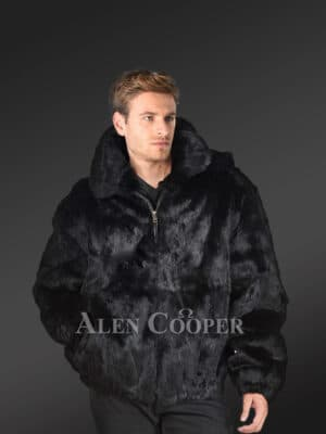 Men's glossy black super warm and smooth real rabbit fur hooded bomber jacket new