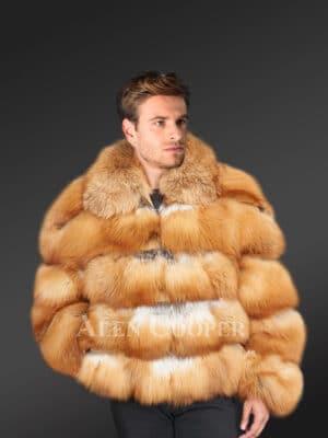 New Men's caramel brown genuine fox fur paragraph warm winter coat