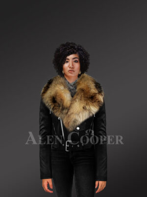 Iconic black super stylish real leather asymmetrical zipper closure biker jacket for women with raccoon fur collar new With Model