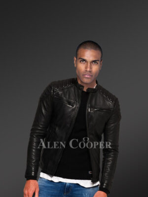 Men's classy coal-black collarless real leather sturdy winter jacket new