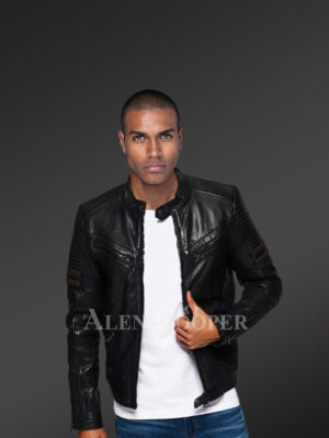 Men's demanding black real leather collarless full sleeve jacket with quilted shoulder new
