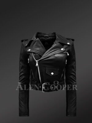 Women's short length real leather black biker jacket with asymmetrical zipper closure new