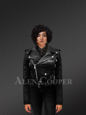 Women's short length real leather black biker jacket with asymmetrical zipper closure new with Model