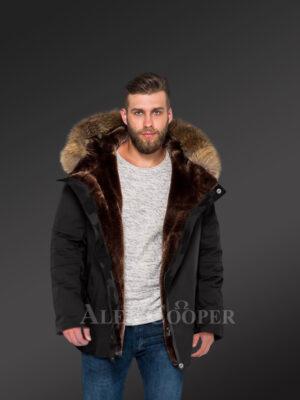 Blazing fashion trend with Men's hybrid black Finn raccoon fur parka convertibles New