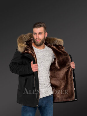 Blazing fashion trend with Men's hybrid black Finn raccoon fur parka convertibles New views