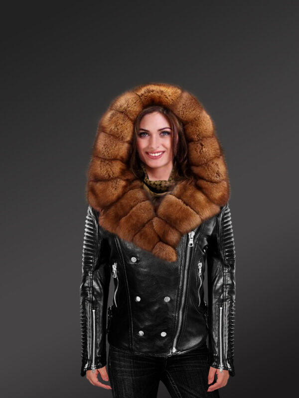 Leather Moto Jacket with Sable fur Collar and Hood