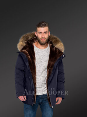 Men's fashion trends redefined with Finn raccoon fur hybrid navy parka convertibles navy view