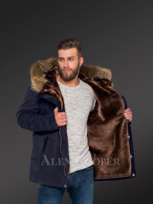 Men's fashion trends redefined with Finn raccoon fur hybrid navy parka convertibles navy views