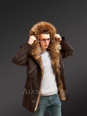 More stylish and elegant with Finn raccoon fur hybrid coffee parka convertibles for men new