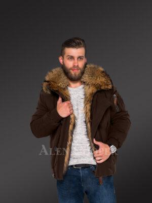Outstanding hybrid coffee Finn raccoon fur parka to make men look trendier and elegant New view