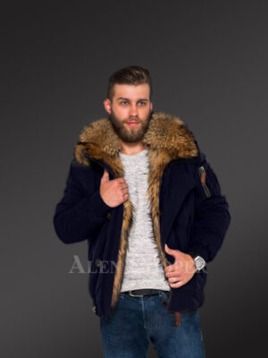 Tastefully crafted hybrid Finn raccoon fur Navy parka for men who dare! new view