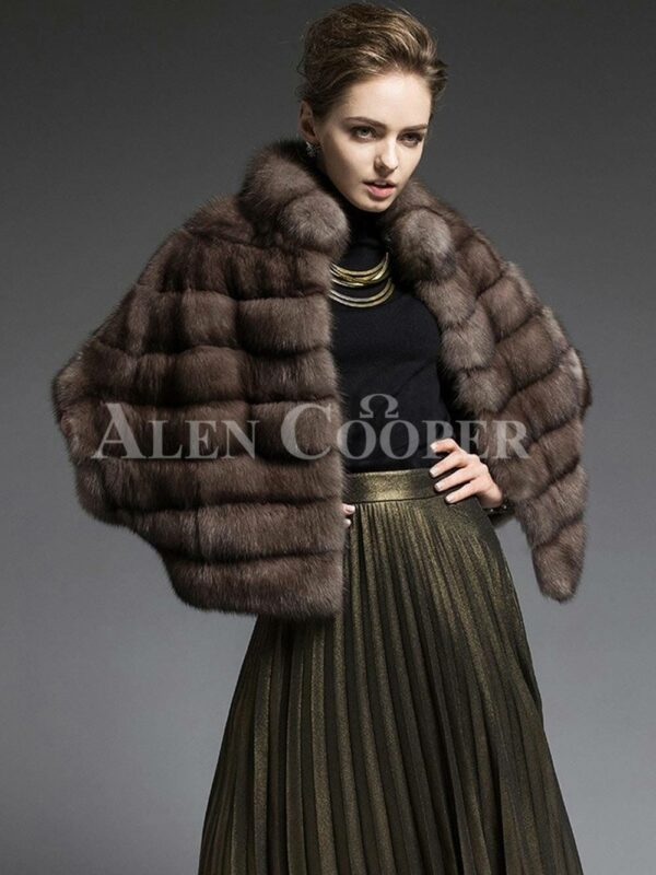 Cropped Russian sable fur coat jacket fusing style with functionality for modern womens