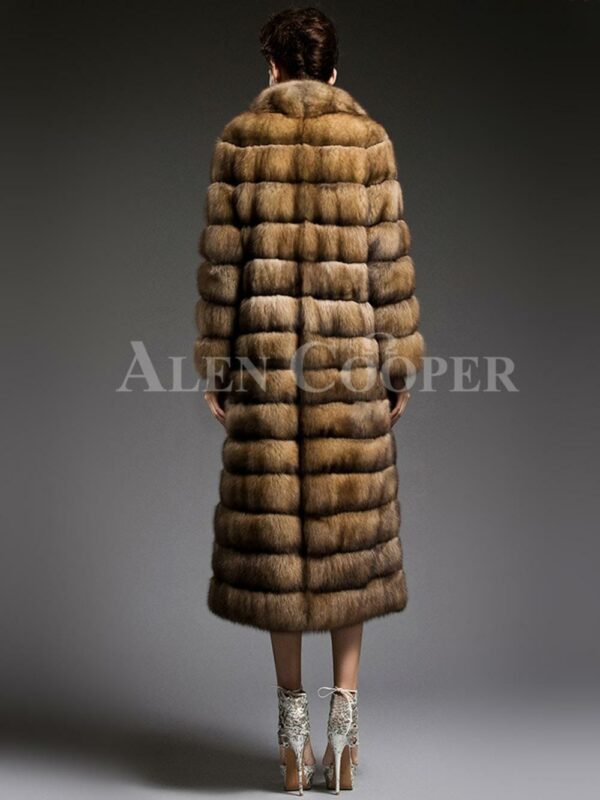 Exclusive and unique long sable fur coats redefining the style and aura of the modern women back side view