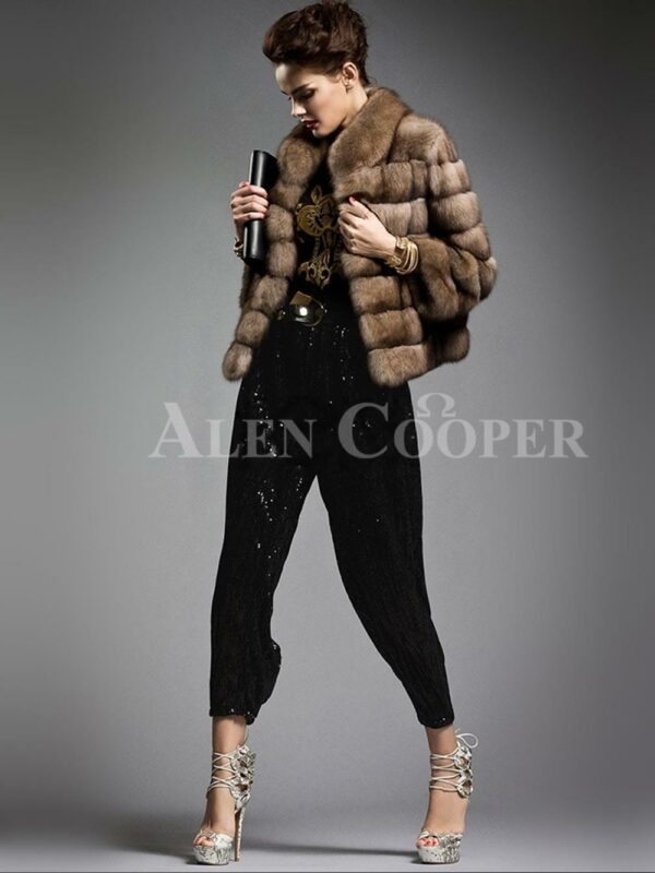 Exotic range of cropped Russian sable fur jacket for modern and stylish women side view