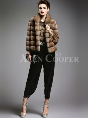 Exotic range of cropped Russian sable fur jacket for modern and stylish womens