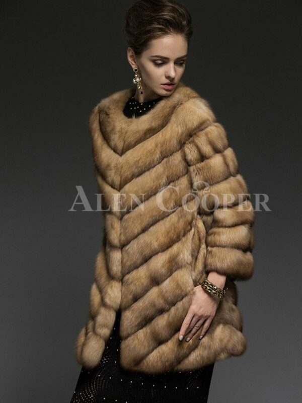 Exotic version of Russian Sable fur coat for the modern women side views