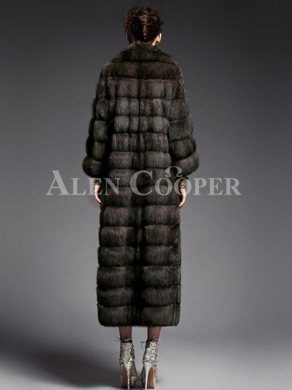 Innovatively designed Russian Sable fur long coat for women highlights Italian craftsmanship back side view