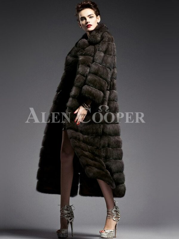 Innovatively designed Russian Sable fur long coat for women highlights Italian craftsmanship side view