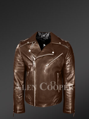 Italian-Finish Leather Biker Jackets For Stylish And Trendy Men In Coffee Color
