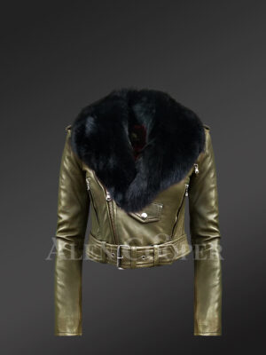 Olive Moto jackets for women with black fox fur paragraph detachable collar