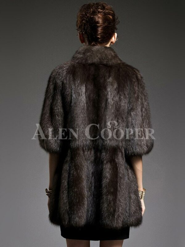 Unique version of Russian sable fur half sleeve coats to refurbish the aura of modern women back side view