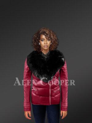 Unbeatably chic wine Moto Jacket for stylish women with detachable fox Fur collar