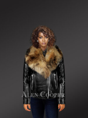 Women's chic black Moto jacket with zip-out removable fox fur collar