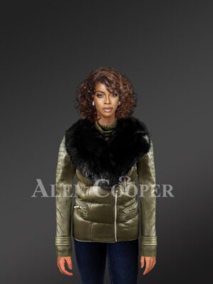 Women's extremely stylish and elegant olive Moto Jacket with detachable fox fur collar