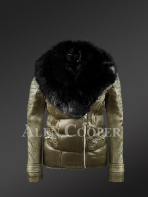 Womens extremely stylish and elegant olive Moto Jacket with detachable fox fur collar