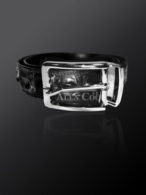 Authentic alligator skin belt in black for more attractive you