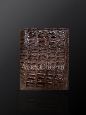 Brown leather wallets made from original alligator skin plates (3)
