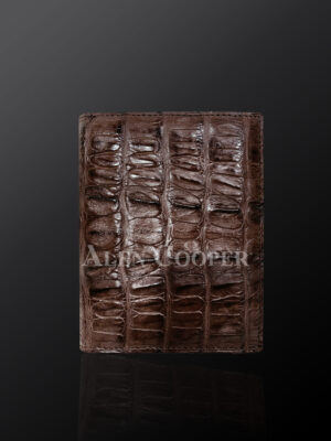 Brown leather wallets made from original alligator skin plates (4)