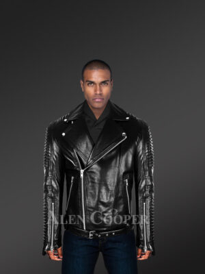 Chic authentic leather jacket with belt for stylish men's with model