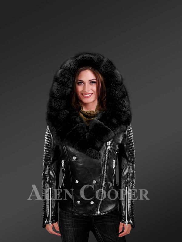 Ladies' black leather jacket with authentic fur collar