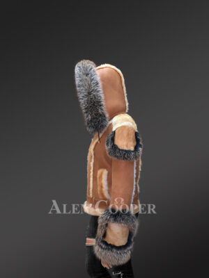 Ladies' stylish tan shearling jackets with fox fur cuffs side view